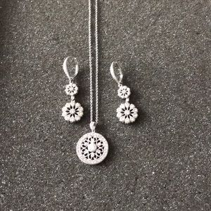 Silver tone and crystal necklace & earrings.
